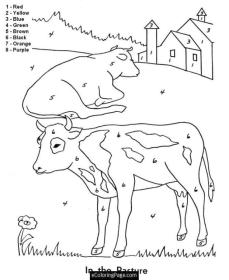 Cow Coloring Pages Printable Cow Color by Number for Kids