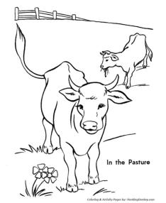 Cow Coloring Pages Printable Cow Grazing in the Pasture