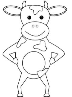 Cow Coloring Pages for Preschoolers Cow Standing Proudly