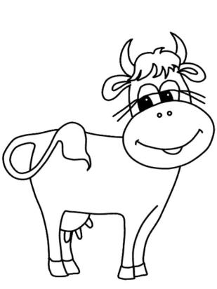 Cow Coloring Pages for Preschoolers Smiling Friendly Cow