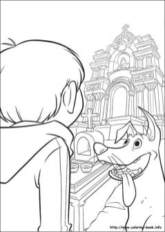 Disney Coco Coloring Pages for Kids Visiting Ernesto