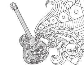 Disney Coco Coloring Pages to Print Miguels Guitar Doodle