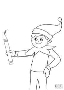 Elf on the Shelf Coloring Pages to Print Elf on the Shelf Holding a Pencil