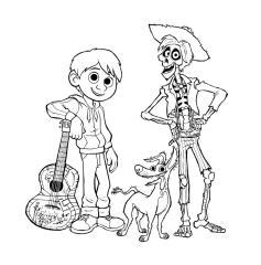 Free Printable Disney Coco Coloring Pages Miguel Dante and Hector