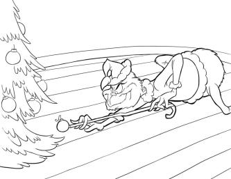 Grinch Coloring Pages Free Grinch Ruining a Christmas Tree