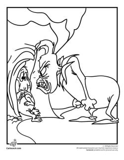 Grinch Coloring Pages Printable Grinch Is Angry with His Dog Max