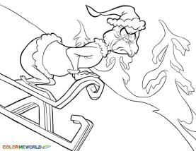 Grinch Coloring Pages Printable Grinch Skiing Down the Hill