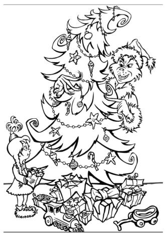 Grinch Coloring Pages for Adults Grinch Hiding Behind a Christmas Tree