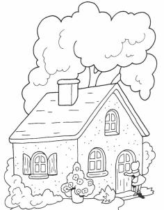 House Coloring Pages Free The House in Little Red Riding Hood