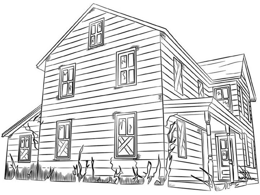House Coloring Pages Free Warm Wooden House