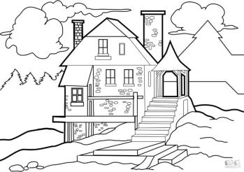 House Coloring Pages Lone House in the Wild
