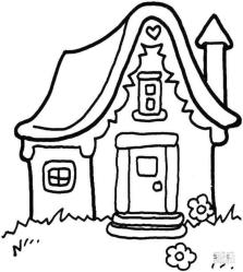 House Coloring Pages Small House Drawing for Kindergarten