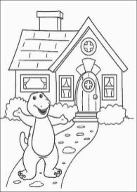 House Coloring Pages to Print Barney Inviting You to His House