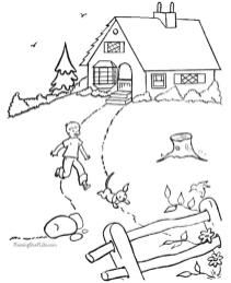 House Coloring Pages to Print House with Big Yard