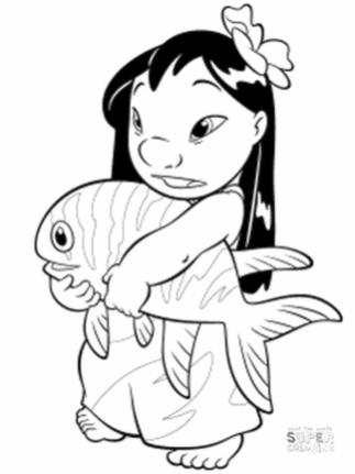 Lilo and Stitch Coloring Pages Cute Lilo Holding a Fish
