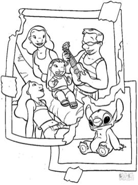 Lilo and Stitch Coloring Pages Family Photo with Lilo and Stitch