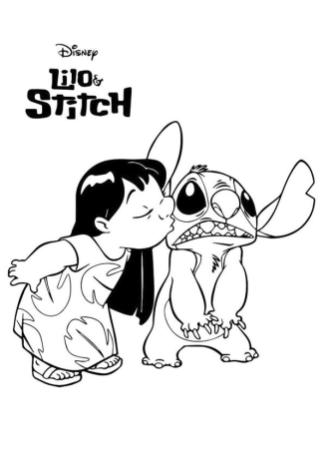Lilo and Stitch Coloring Pages Lilo Kissing Stitch