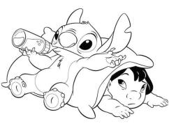 Lilo and Stitch Coloring Pages Lilo and Stitch Just Chilling
