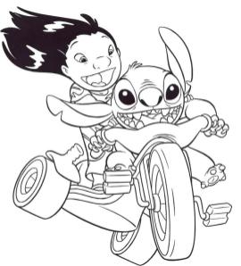Lilo and Stitch Coloring Pages Lilo and Stitch Riding a Tricycle