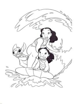 Lilo and Stitch Coloring Pages Lilo and Stitch Surfing along a Big Wave