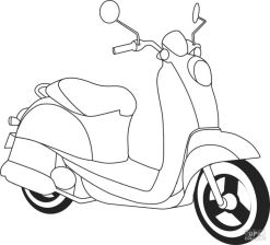 Motorcycle Coloring Pages Retro Style Honda Scoopy