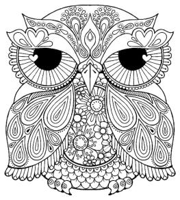 Owl Coloring Pages for Grown Ups Free to Print so2y