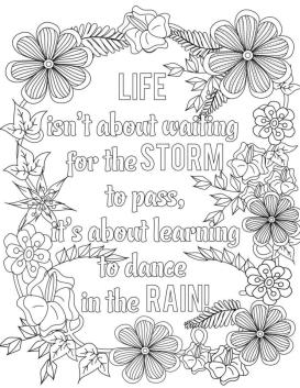 Quote Coloring Pages Free Dance In The Rain