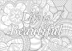 Quote Coloring Pages for Adults Life Is Beautiful