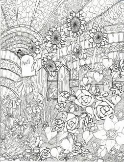 Spring Coloring Pages Free for Grown Ups Complex Floral Garden Printable