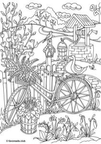 Spring Coloring Pages Printable for Adults Beautiful Spring Garden with a Well