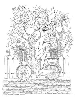 Spring Coloring Pages Printable for Adults Bicycle with a Basket Full of Flowers