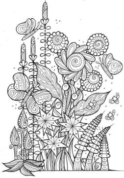Spring Coloring Pages for Adults Flowers and Butterflies Zentangle Art