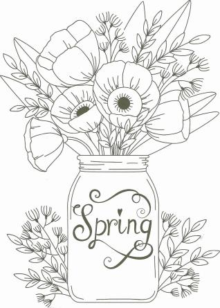 Spring Coloring Pages for Adults Flowers in a Jar