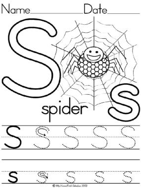 S is for Spider Coloring Page for Kids Spider Handwriting Worksheet Letter S