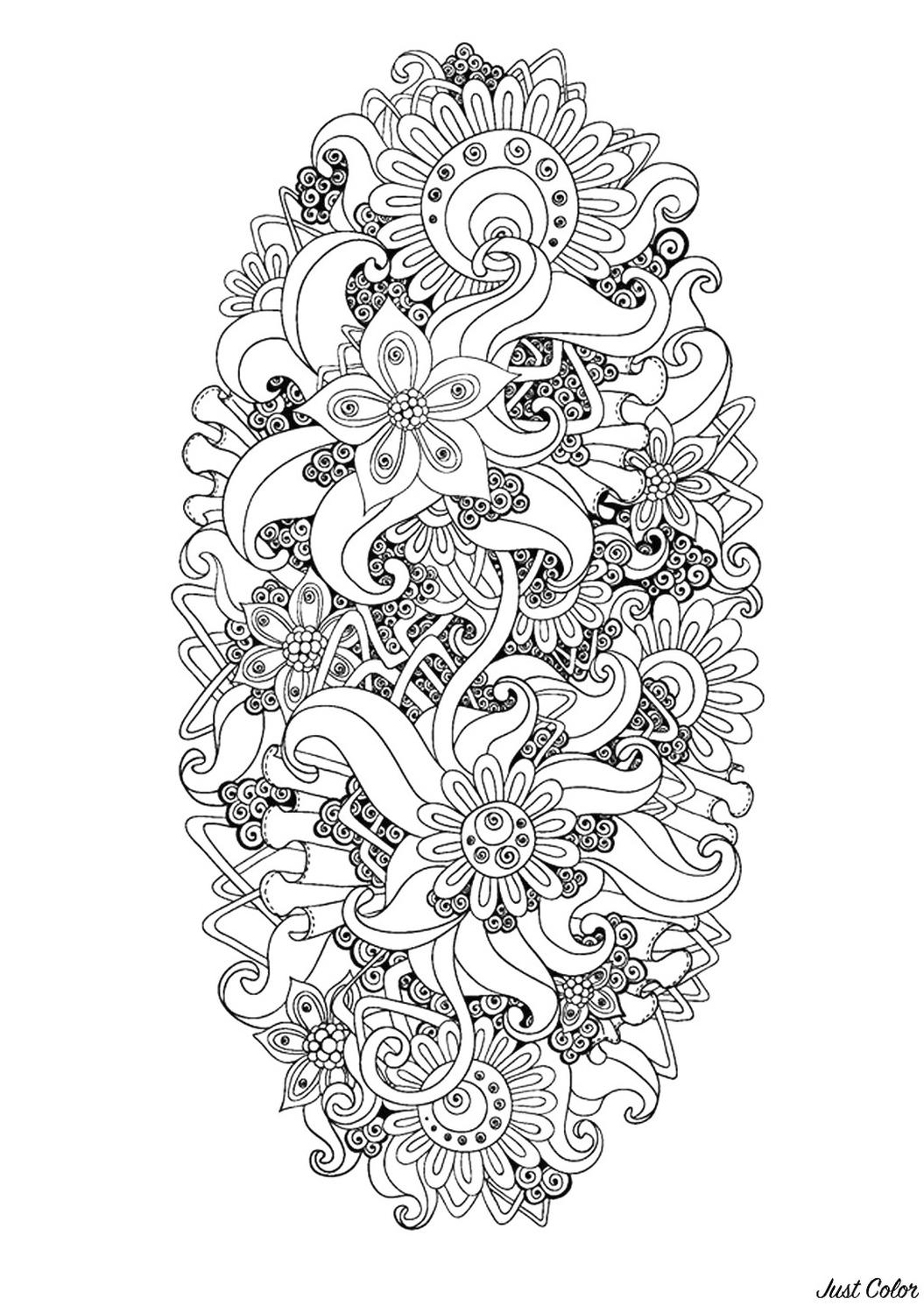 Adult Coloring Pages Abstract Relazing Zen Flower Pattern