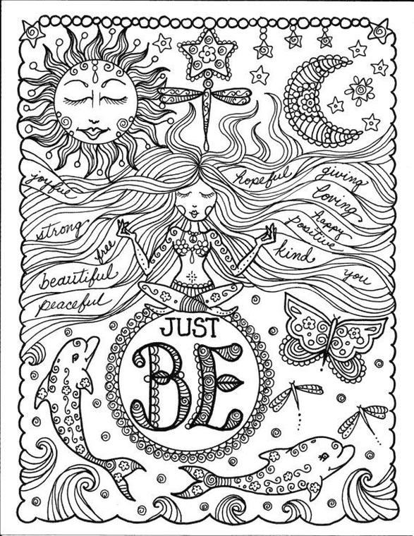 Coloring Pages Cool Designs for Teenagers Yoga Zen Quote