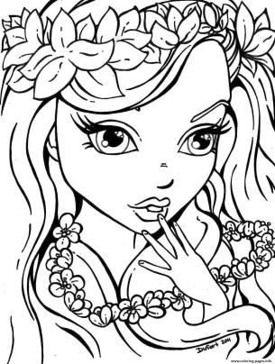 Coloring Pages for Teenage Girl Easy Cute Little Girl with Flower Necklace