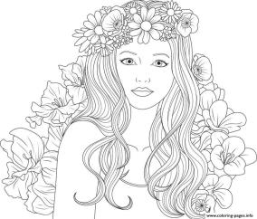 Coloring Pages for Teenage Girl Easy Young Girl with Flower Crown