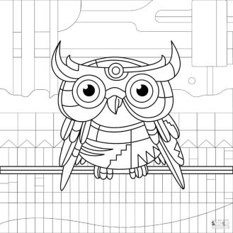 Coloring Pages for Teenage Girl Printable Owl Drawing Industrial Style