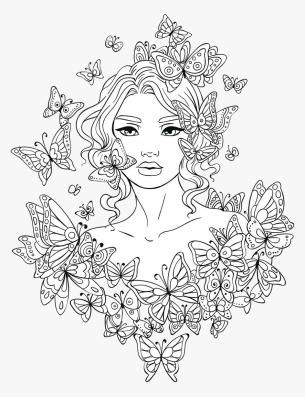 Coloring Pages for Teenagers Lovely Womand and Butterflies