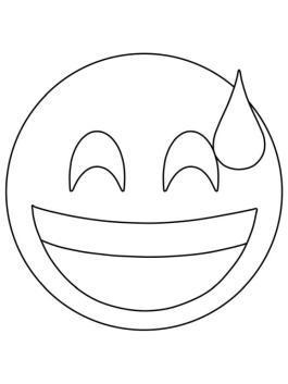 Emoji Coloring Pages Smiley Sweating Emoji