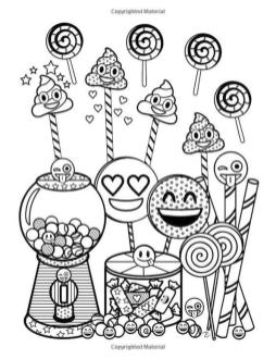 Emoji Coloring Pages for Adults Sweets and Lollipop