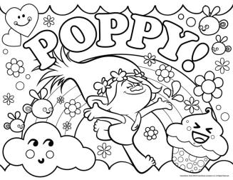 Free Trolls Coloring Pages Poppy Is Such a Happy Girl