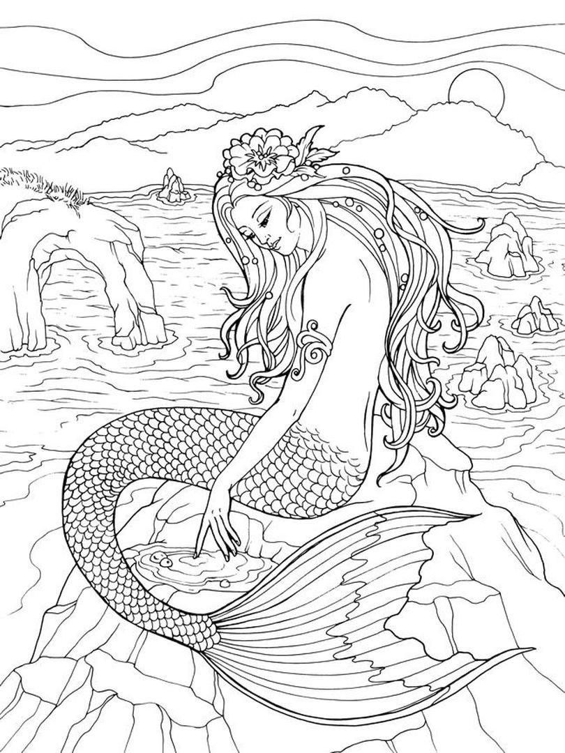 Mermaid Adult Coloring Pages b10d