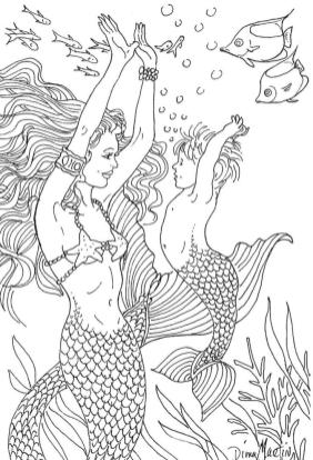 Mermaid Coloring Pages for Adult sw19m