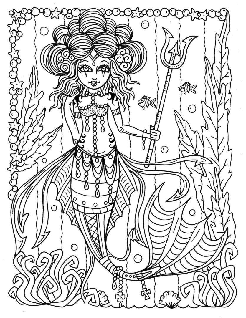 Mermaid Coloring Pages for Adult tr44y