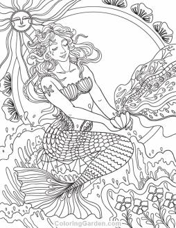 Realistic Mermaid Coloring Pages for Adult l4ud12