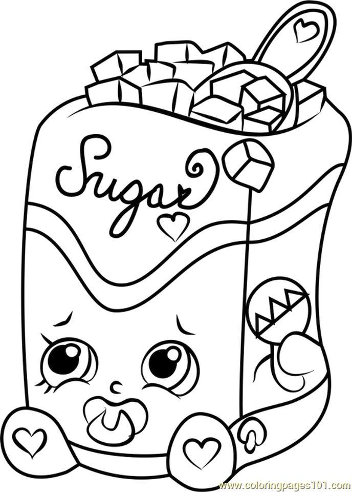 Shopkins Coloring Pages Food Sugar Lump