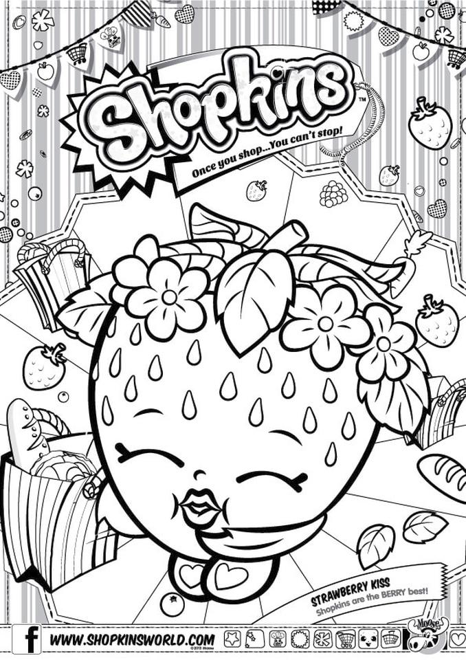 Shopkins Coloring Pages for Free Strawberry Kiss