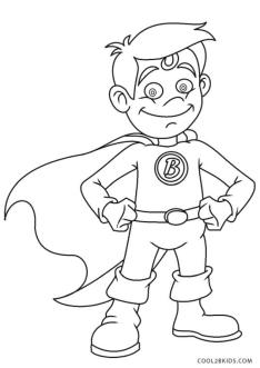 Superhero Coloring Pages for Toddlers Little Boy with Superhero Costume